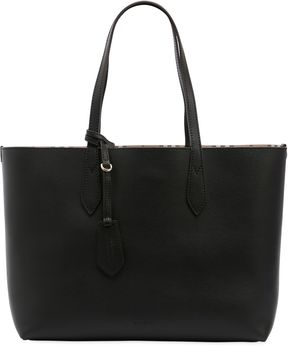 Burberry Medium Reversible House Check Tote Bag - BLACK - STYLE