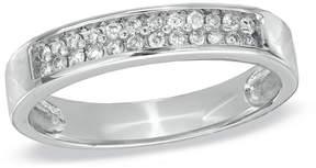Zales Men's 1/4 CT. T.W. Diamond Wedding Band in 10K White Gold