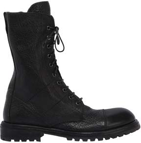 Moma Pebbleed Leather Combat Boots