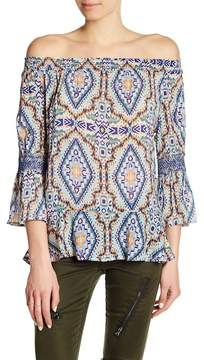 Democracy Off-the-Shoulder 3/4 Length Bell Sleeve Blouse