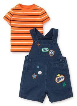 Little Me Baby Girl's Two-Piece Cotton Striped Tee and Patched Shortall Set