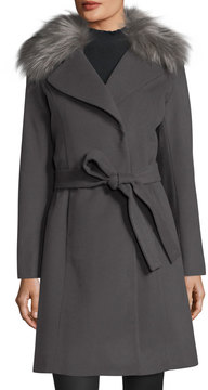 T Tahari Fiona Wool-Blend Wrap Coat