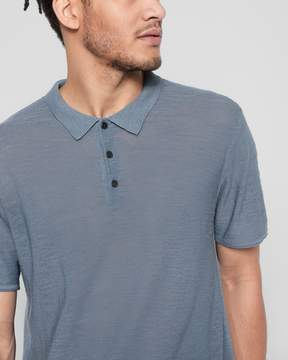 7 For All Mankind Short Sleeve Sweater Polo in Washed Jean