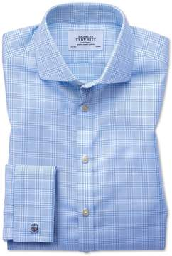Charles Tyrwhitt Extra Slim Fit Spread Collar Non-Iron Prince Of Wales Sky Blue Cotton Dress Shirt Single Cuff Size 15.5/33