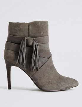 Marks and Spencer Suede Stiletto Tassel Pointed Ankle Boots