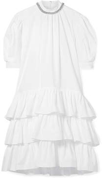 Christopher Kane Embellished Tiered Cotton-poplin Dress - White