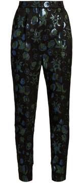 Dolce & Gabbana Floral-brocade high-waist cigarette trousers