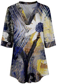 Azalea Beige & Blue Floral V-Neck Tunic - Women & Plus