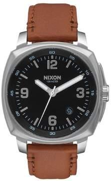 Nixon Charger A1077-1037-00 Black/Brown Leather Analog Quartz Men's Watch