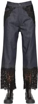 Diesel Black Gold Cotton Denim Jeans W/ Lace Trim