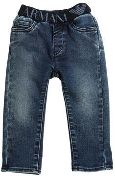 Armani Junior Cotton Jeans W/ Elastic Waistband