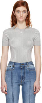 Courreges Silver Ribbed Mock Neck Sweater