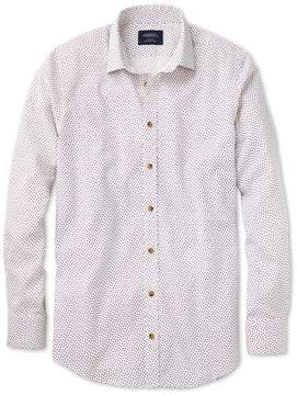 Charles Tyrwhitt Classic Fit White and Pink Square Print Cotton/linen Casual Shirt Single Cuff Size Medium