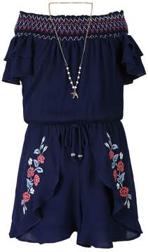 Speechless Girls 7-16 Embroidered Skirted Romper with Necklace