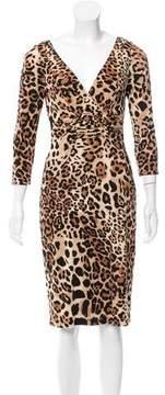 David Meister Leopard Print Knee-Length Dress