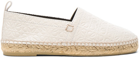 Loewe Leather All Over Repeat Espadrilles in White.