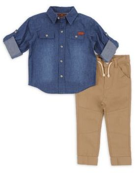 7 For All Mankind Baby Boy's & Toddler's Two-Piece Denim Collared Shirt & Jogger Pants Set