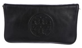 Tory Burch Leather Flap Clutch - BLACK - STYLE