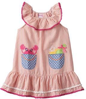 Nannette Toddler Girl Applique Seersucker Dress