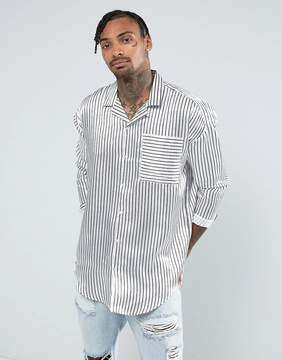 Jaded London Oversized Shirt In White Stripe