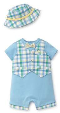 Little Me Baby Boy's Two-Piece Cotton Vested Romper and Hat Set