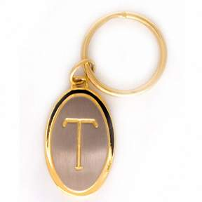 Zales Men's Oval Initial Key Chain in 22K Gold and Sterling Silver over Brass (1 Initial)