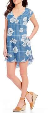 Chelsea & Theodore Rose-Grid Floral Print Hi-Low Frayed Hem Dress