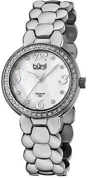 Burgi White Mother of Pearl Dial Stainless Steel Bracelet Ladies Watch