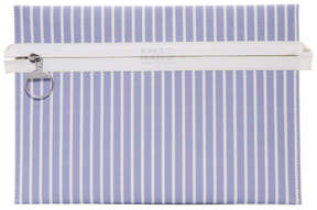 Maison Margiela Blue and White Striped Zip Pouch