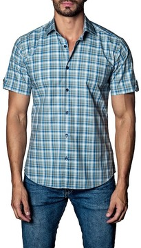 Jared Lang Woven Plaid Short Sleeve Trim Fit Shirt