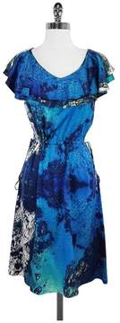 Christian Siriano Blue & Green Abstract Print Silk Dress