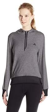 adidas Women's 2Love Pullover Hoodie Dark Grey Heather/Black Sweatshirt SM