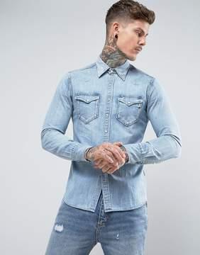 Replay Lightwash Western Denim Shirt Regular