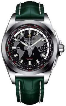 Breitling Galactic Unitime Black Dial Green Leather Men's Watch WB3510U4-BD94GRCT