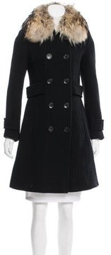 Andrew Marc Fur-Trimmed Wool Coat