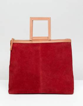 Asos DESIGN suede tote bag with square handle detail