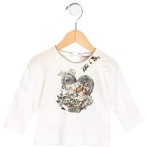 MonnaLisa Girls' Printed Embellished Top w/ Tags