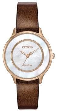 Citizen L EM0383-08D Brown Leather Analog Eco-Drive Women's Watch