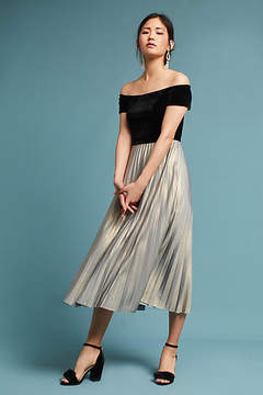 Donna Morgan Velvet Off-The-Shoulder Pleated Dress