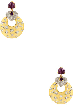 Artisan Women's 18K Gold Amethyst & Diamond Earrings