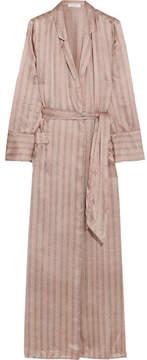 Equipment Florian Striped Silk-satin Robe - Beige