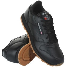 Reebok V69623 Grade School Classic Leather Sneakers Black Gum