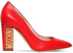 Moschino 100mm Logo Heel Leather Pumps
