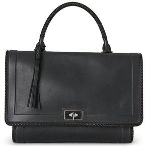 Givenchy Black Shark-Tooth-Lock Braided-Trim Large Shoulder Bag