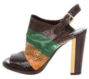 Dries Van Noten Snakeskin Slingback Booties w/ Tags