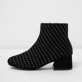 River Island Girls black studded block heel ankle boots