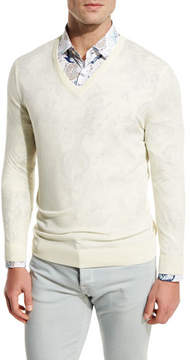 Kiton Fine-Gauge V-Neck Sweater, Ivory/Cream