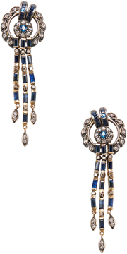 Artisan Women's Silver, 18K Yellow Gold, Blue Sapphire & 1.67 Total Ct. Diamond Wreath Drop Earrings