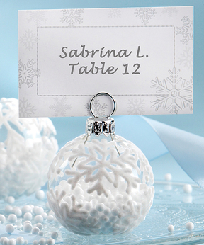 Snow Flurry Flocked Glass Ornament Place Card Holders - Set of 12