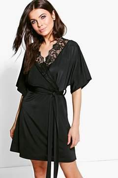 boohoo Maeve Lace Trim Short Sleeved Wrap Dress